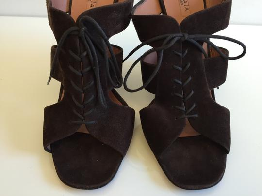 ALAA Suede Wedges Brown Mules