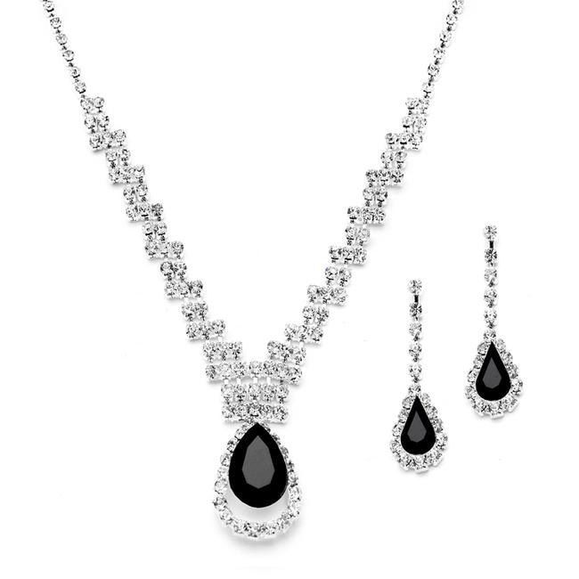 Mariell Silver/Black Prom Or Bridesmaids Rhinestone Necklace Set with Caged Pear 4140s-je Earrings Mariell Silver/Black Prom Or Bridesmaids Rhinestone Necklace Set with Caged Pear 4140s-je Earrings Image 1
