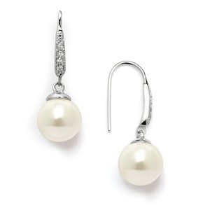 Mariell Silver Vintage French Wire with Ivory Pearl Drops and Platinum Plated Cz Accents 4560e-i-s Earrings