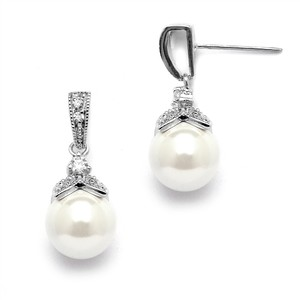 Mariell Light Ivory Pearl Drop Wedding Earrings With Vintage Cz 3045e-s