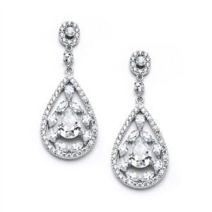 Mariell Cubic Zirconia Mosaic Teardrop Bridal Prom Or Wedding Earrings 3784e