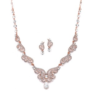 Mariell Rosr Gold Art Deco Necklace Earrings with Crystal Scrolls 4181s-rg Jewelry Set