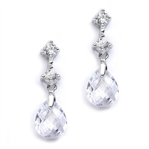 Mariell Clear Cz Or Bridesmaids with Crystal Drops 4078e-cr Earrings
