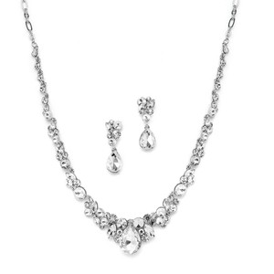 Mariell Silver 4192s-cr Regal Crystal Or Prom Necklace Earrings Jewelry Set
