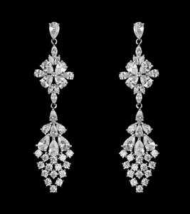 Silver Plated Cz Multi-cut Drop Wedding Earrings