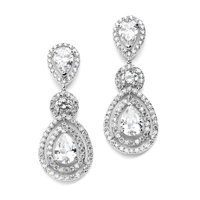 Mariell Silver Magnificent Cz Statement For and Pageants with Framed Pears 4272e Earrings Mariell Silver Magnificent Cz Statement For and Pageants with Framed Pears 4272e Earrings Image 1