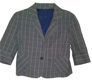 Express Plaid Gray Blazer
