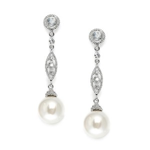 Mariell Silver Angle with Cz Filigree Bold Pearl 3625e Earrings - item med img