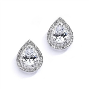 Mariell Silver Designer Micro Pave Cubic Zirconia Or Mother Of The Bride 4076e Earrings - item med img