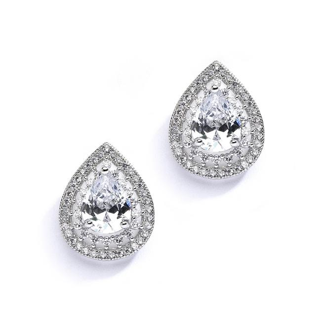 Mariell Silver Designer Micro Pave Cubic Zirconia Or Mother Of The Bride 4076e Earrings Mariell Silver Designer Micro Pave Cubic Zirconia Or Mother Of The Bride 4076e Earrings Image 1