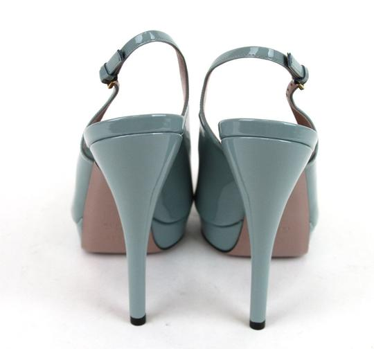 Gucci Patent Leather Sling Back Blue Platforms