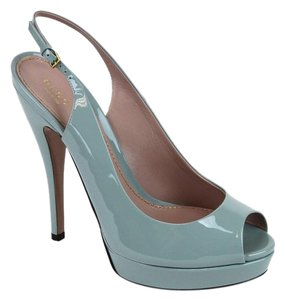 Gucci Patent Leather Sling Blue Platforms