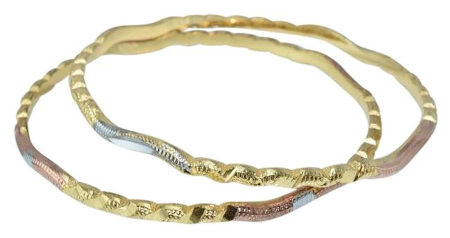 Tri-color Gold Rose Silver Thin Textured Diamond Cut Bangles (2pcs) Bracelet Tri-color Gold Rose Silver Thin Textured Diamond Cut Bangles (2pcs) Bracelet Image 1