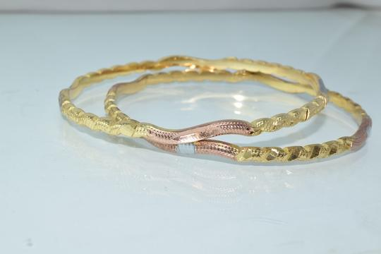 Other Tri-Color Thin Textured Diamond Cut Bangles (2pcs)