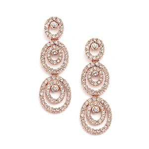 Mariell Concentric Ovals Rose Gold Wedding Earrings With Cubic Zirconia 4066e-rg