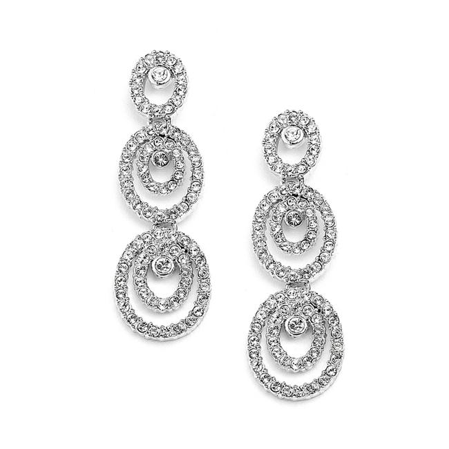 Mariell Silver Oncentric Ovals Or Prom Dangle with Cubic Zirconia 4066e-s Earrings Mariell Silver Oncentric Ovals Or Prom Dangle with Cubic Zirconia 4066e-s Earrings Image 1