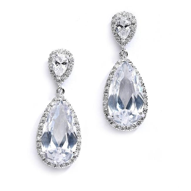 Mariell Silver Cubic Zirconia Or with Elongated Pear Drop 4044e Earrings Mariell Silver Cubic Zirconia Or with Elongated Pear Drop 4044e Earrings Image 1