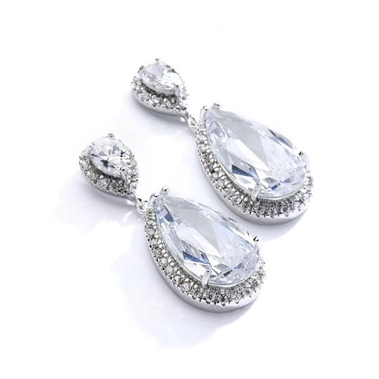 Mariell Silver Cubic Zirconia Or with Elongated Pear Drop 4044e Earrings