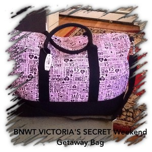 Victoria's Secret Victoria Weekend pink and black graphics Travel Bag