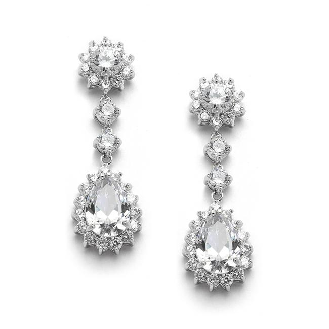 Mariell Silver Cubic Zirconia Or Bridesmaids Dangle with Cz Frame 4041e Earrings Mariell Silver Cubic Zirconia Or Bridesmaids Dangle with Cz Frame 4041e Earrings Image 1