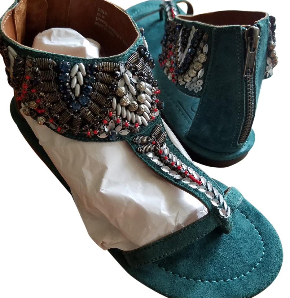 e6026063377a Bacio 61 Green Teal Suede Silver Beaded Gladiator Sandals Size US ...
