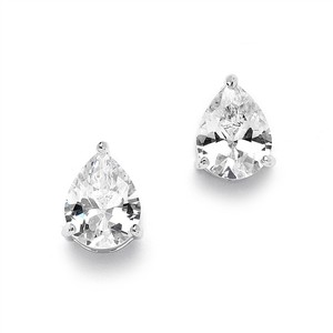 Mariell Silver 2.00 Ct. Cubic Zirconia Pear Shape Stud Earrings