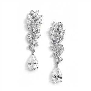 Mariell Pave Cz Bridal Earrings With Marquis Leaves & Pear Drop 4015e