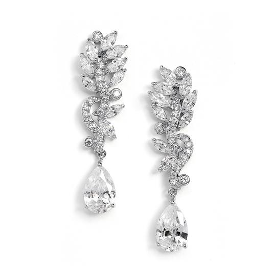 Mariell Silver Pave Cz with Marquis Leaves Pear Drop 4015e Earrings Image 0