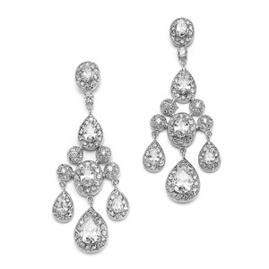 Mariell Regal Wedding Chandelier Earrings In Pave Encrusted Cz 2052e