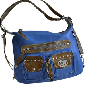 Sharif Leather Pebbled Studded Satchel in Royal blue and Olive green