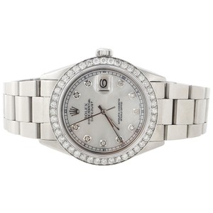 Rolex Diamond Rolex Datejust Watch 36mm Oyster Band White MOP Dial 2.20 Ct.