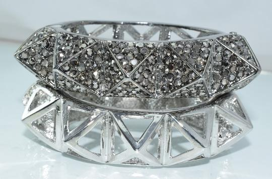 Other Bling Me Please Thick HollowSpikes Rhinestone Hinge Cuff Bracelet Image 5