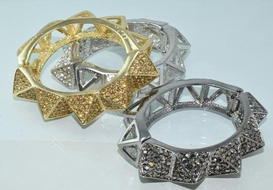 Other Bling Me Please Thick HollowSpikes Rhinestone Hinge Cuff Bracelet Image 6