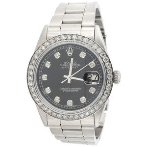Rolex Mens Rolex Diamond Watch 36mm DateJust Oyster Band Black Dial 2.20 Ct.