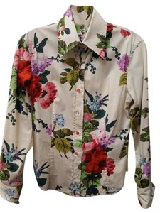 Etro Top Multicolor Floral on Creme Ground
