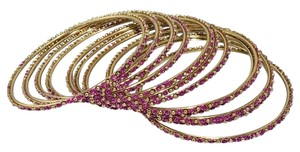 Other Indian Berry Golden Copper Multi-Stone Thin Cut Bangles (12pcs)