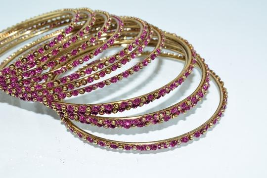 Other Indian Berry Golden Copper Multi-Stone Thin Cut Bangles (12pcs) Image 1