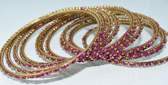 Other Indian Berry Golden Copper Multi-Stone Thin Cut Bangles (12pcs) Image 2