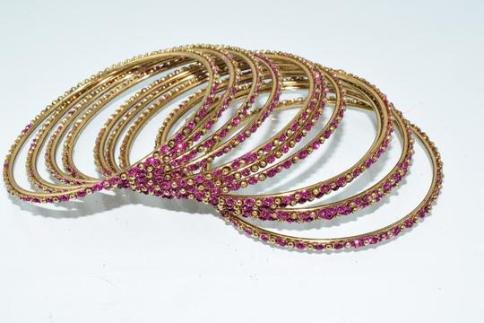 Other Indian Berry Golden Copper Multi-Stone Thin Cut Bangles (12pcs) Image 3
