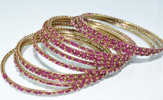 Other Indian Berry Golden Copper Multi-Stone Thin Cut Bangles (12pcs) Image 4