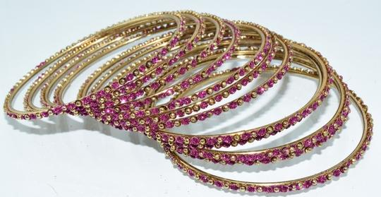 Other Indian Berry Golden Copper Multi-Stone Thin Cut Bangles (12pcs) Image 5