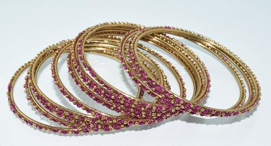 Other Indian Berry Golden Copper Multi-Stone Thin Cut Bangles (12pcs) Image 6