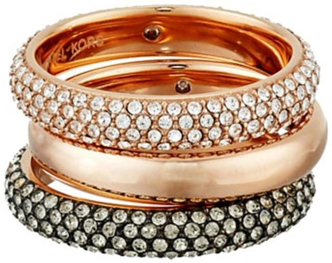 Item - Rose Gold - Clear - Black Nwt. Pave Gold-tone Stack Ring