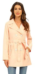 Jessica Simpson Double Breasted Side Zip Belted BLUSH Jacket
