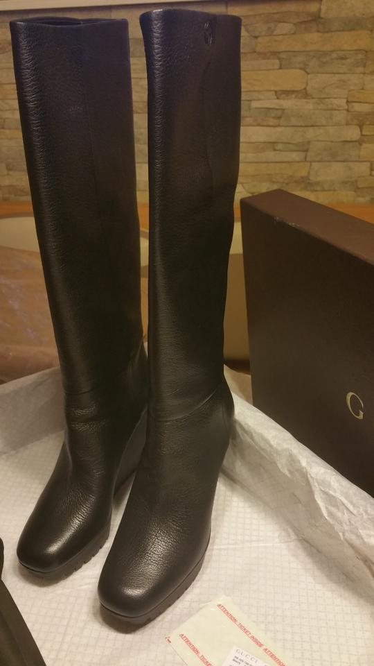 009f58780e23 Gucci Black Marion Genuine Leather Knee High Wedge Platform Boots Booties  Size US 10 Regular (M
