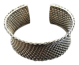 Braided Oxidized Silver Cuff Bracelet with a Bevel Detail