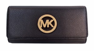 Michael Kors Fulton Slim Flap Checkbook Wallet NWT Black Leather Clutch