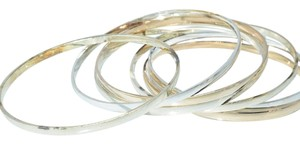 Modern Pale Rose Gold Silver Color Thin Bangles (6pcs)