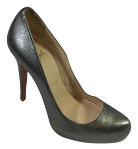 Christian Louboutin Metallic Heels Platforms Silver Pumps