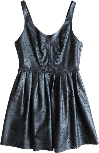 Silence + Noise Faux Leather Exposed Zipper Eyelet Dress